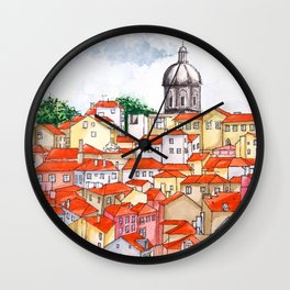 Alfama Skyline, Lisbon, Portugal Wall Clock