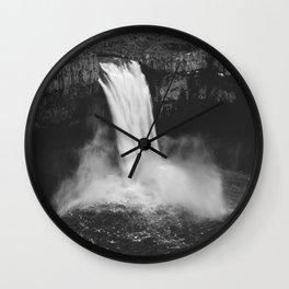 Palouse Falls Black and White Wall Clock