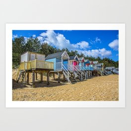 Coloured Beach Huts 3 Art Print