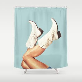 These Boots - Blue Shower Curtain