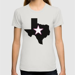 Texas state map with integrated texas star US T-shirt