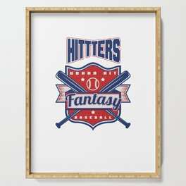 Hitters Gonna Hit Funny Baseball Awesome Baseballer Serving Tray