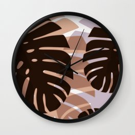Palm Leaves in Choco-Gray Wall Clock