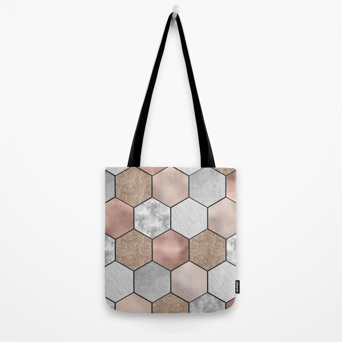 Marble hexagons and rose gold on black Tote Bag