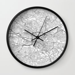 Glasgow Map Line Wall Clock