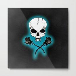 Skull & Black Roses Metal Print