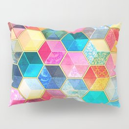 Crystal Bohemian Honeycomb Cubes - colorful hexagon pattern Pillow Sham