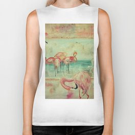 Flamingos Greetings Biker Tank