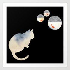 Japanese Cats Series - Goldfish Bowls Art Print