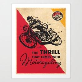 Vintage poster - Motorcycling Art Print