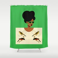 postcard Shower Curtains featuring Green Postcard Fashion by The Pairabirds