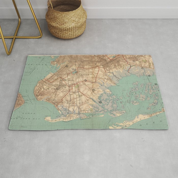 Vintage Map of Jamaica Bay and Brooklyn NY (1891) Rug