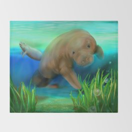 Manatee Illustration Throw Blanket