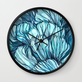 Blue Coral Lines Wall Clock