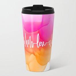 Love Beat Watercolor back Travel Mug