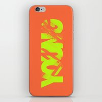 neil young iPhone & iPod Skins featuring Young by Stokes Whitaker