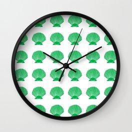 Green Seashell Wall Clock
