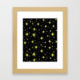 Bright Yellow Stars in Space , Cristmas Stars Framed Art Print