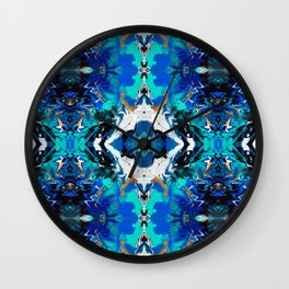 Ripples (Blue, White, Black & Gold Acrylic - Repeat Mirror Pattern 2) Wall Clock