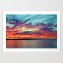 Sunset on Lake St. Clair in Belle River, Ontario Art Print