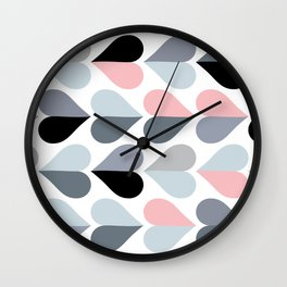Love and Kisses in Pink and Grey Wall Clock