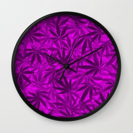 Marijuana leaves (purple) Wall Clock