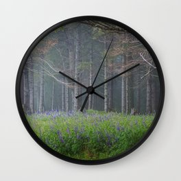 Lupines At The Forest's Edge Wall Clock