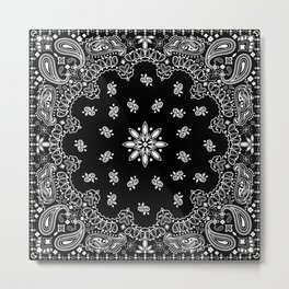 black and white bandana Metal Print