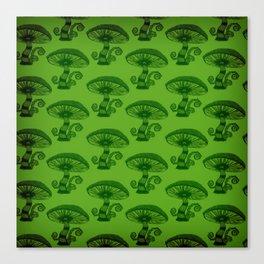 """""""Mushrooms in the Garden"""" Wonderland Style Design by Dark Decors Canvas Print"""