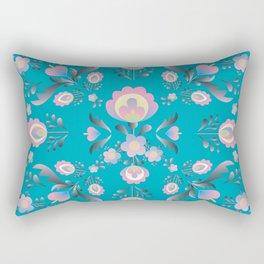 Dusty Blue Folk Flowers Rectangular Pillow