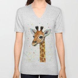 Baby Giraffe Unisex V-Neck