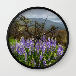 Lupines In The Hills Wall Clock