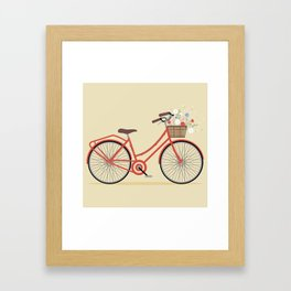 Flower Basket Bicycle Illustration Framed Art Print