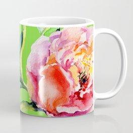Pink Peonies On Bright Spring Green Coffee Mug