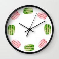 macarons Wall Clocks featuring Macarons by Sarah Moore