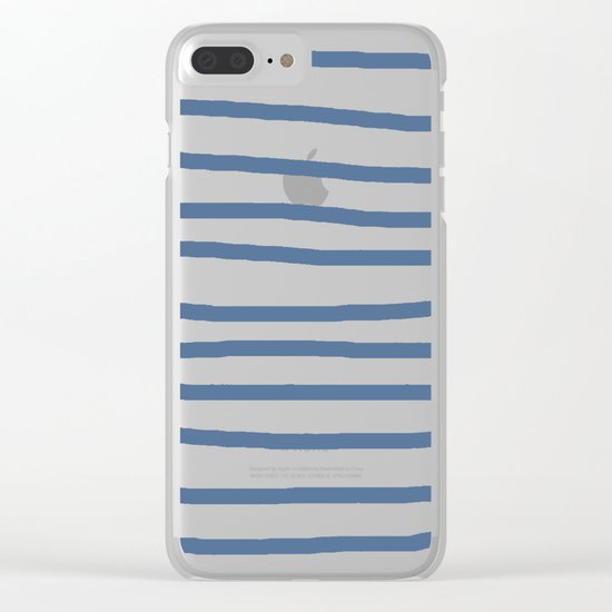 Simply Drawn Stripes in Aegean Blue and White Clear iPhone Case