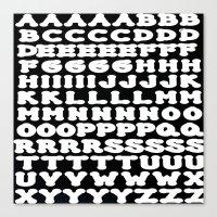 alphabet Canvas Prints featuring Alphabet by Jeffrey J. Irwin