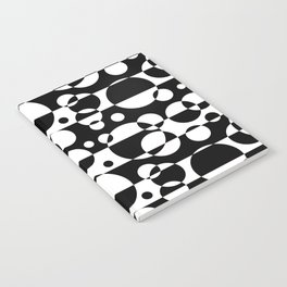 Black White Geometric Circle Abstract Modern Print Notebook