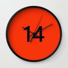 Legendary No. 14 in orange and black Wall Clock