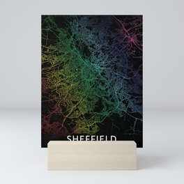 Sheffield, England, City, Map, Rainbow, Map, Art, Print Mini Art Print