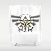 triforce Shower Curtains featuring Triforce by Otis Zanzibar
