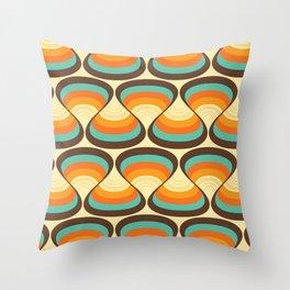 Wavy Turquoise Orange and Brown Retro Lines Throw Pillow