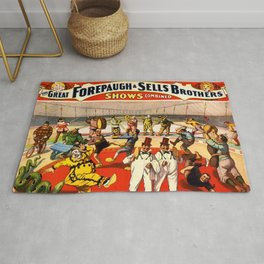 1899 Forepaugh & Sells Brothers Circus Clown Poster Rug