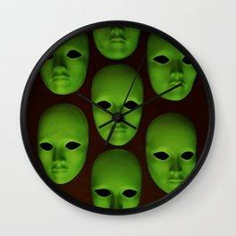 Green Masks Wall Clock
