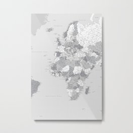 Vionnet three panel highly detailed world map in grey (center) Metal Print