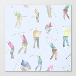 Watercolor Golfers // Light Blue Canvas Print