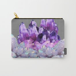 SPARKLY WHITE QUARTZ & PURPLE AMETHYST CRYSTAL Carry-All Pouch