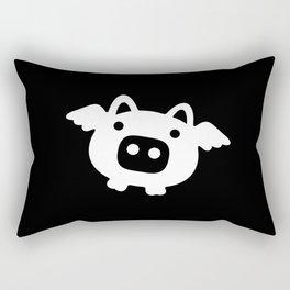 Pigs Will Fly - white on black Rectangular Pillow