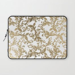 Vintage faux gold elegant floral damask Laptop Sleeve