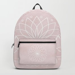 Mandala on Pink Watercolor Background Backpack